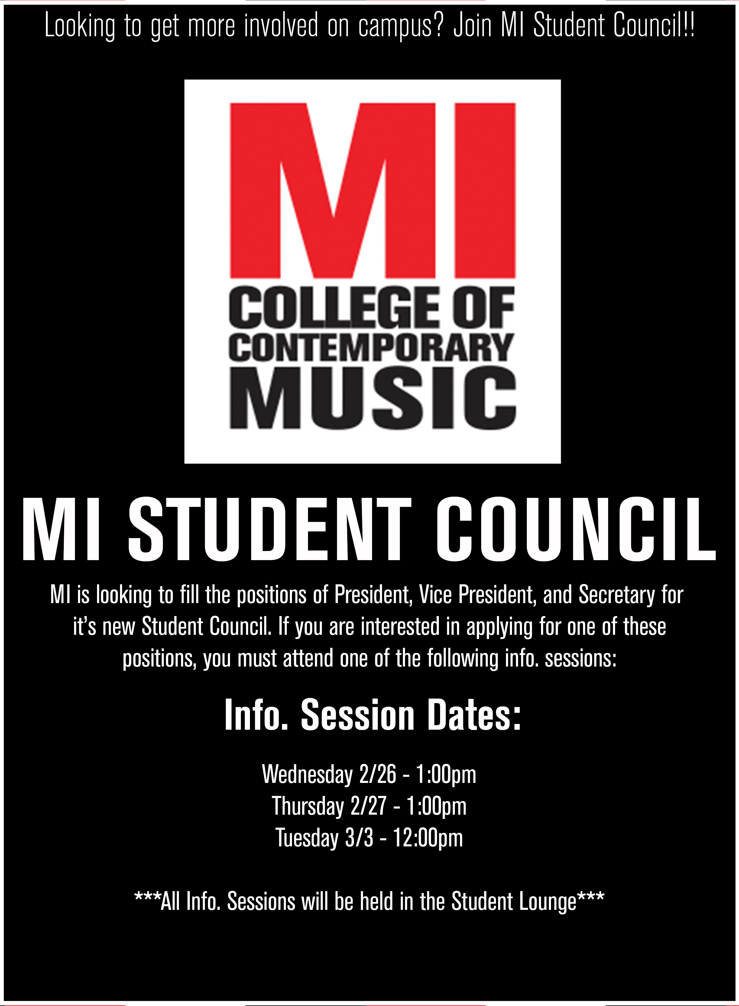 MI STUDENT COUNCIL INFO. SESSION