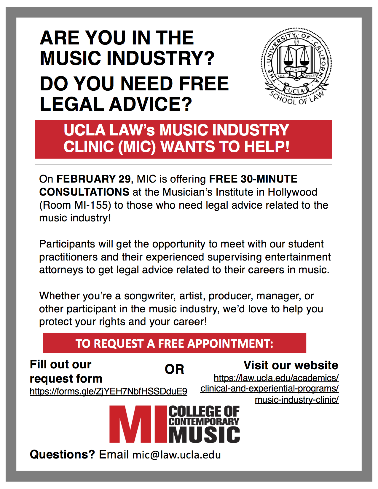 UCLA LAW's Music Industry Clinic (MIC)