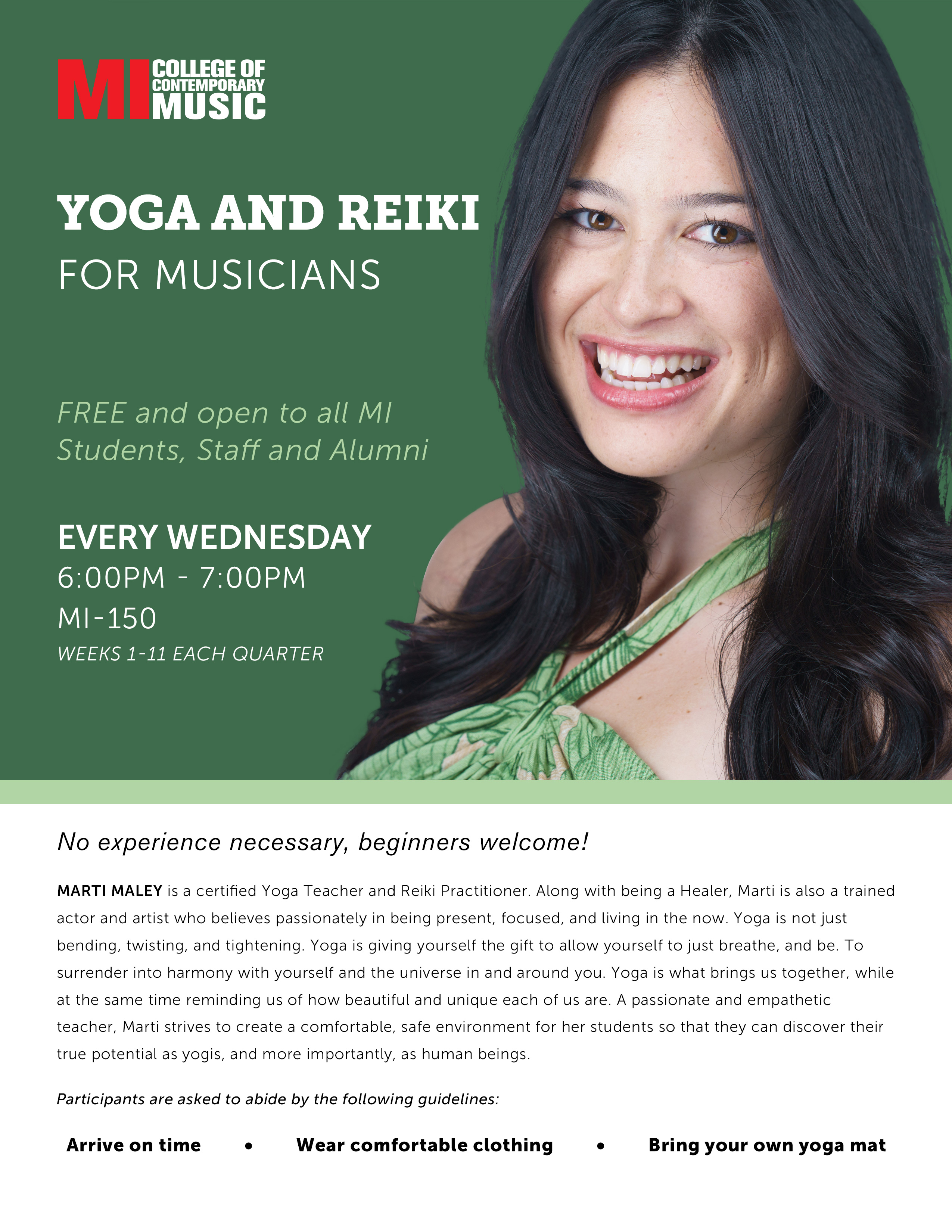 YOGA AND REIKI FOR MUSICIANS WEDNESDAY, OCTOBER 11, 2017, 6 – 7PM
