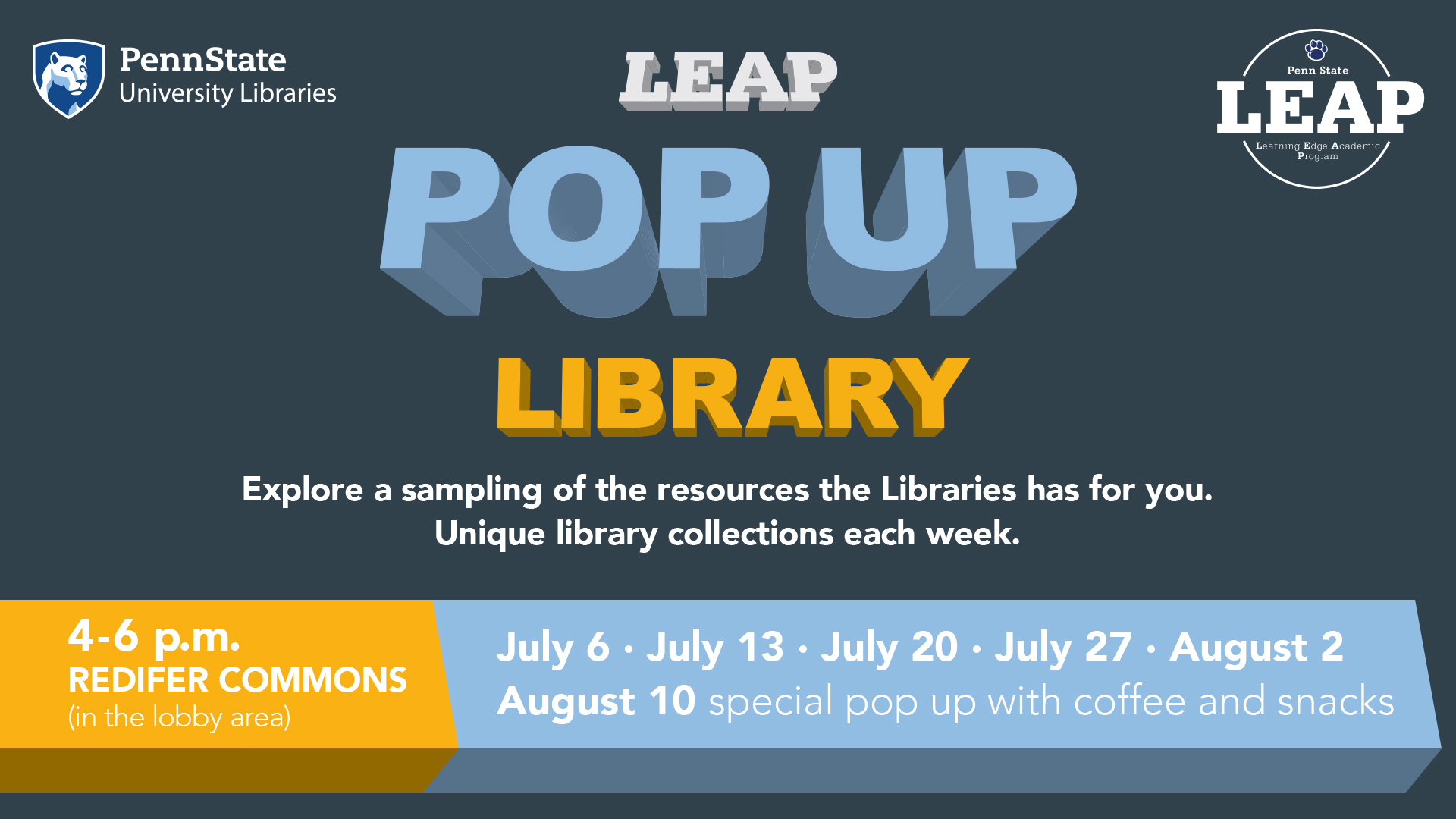 LEAP Pop Up Library! Explore a sampling of the resources the Libraries has for you. Unique library collections each week. In Redifer Commons, 4 to 6 pm, July 6, 13, 20, 27 and August 2. August 10 pop up includes coffee and snacks!