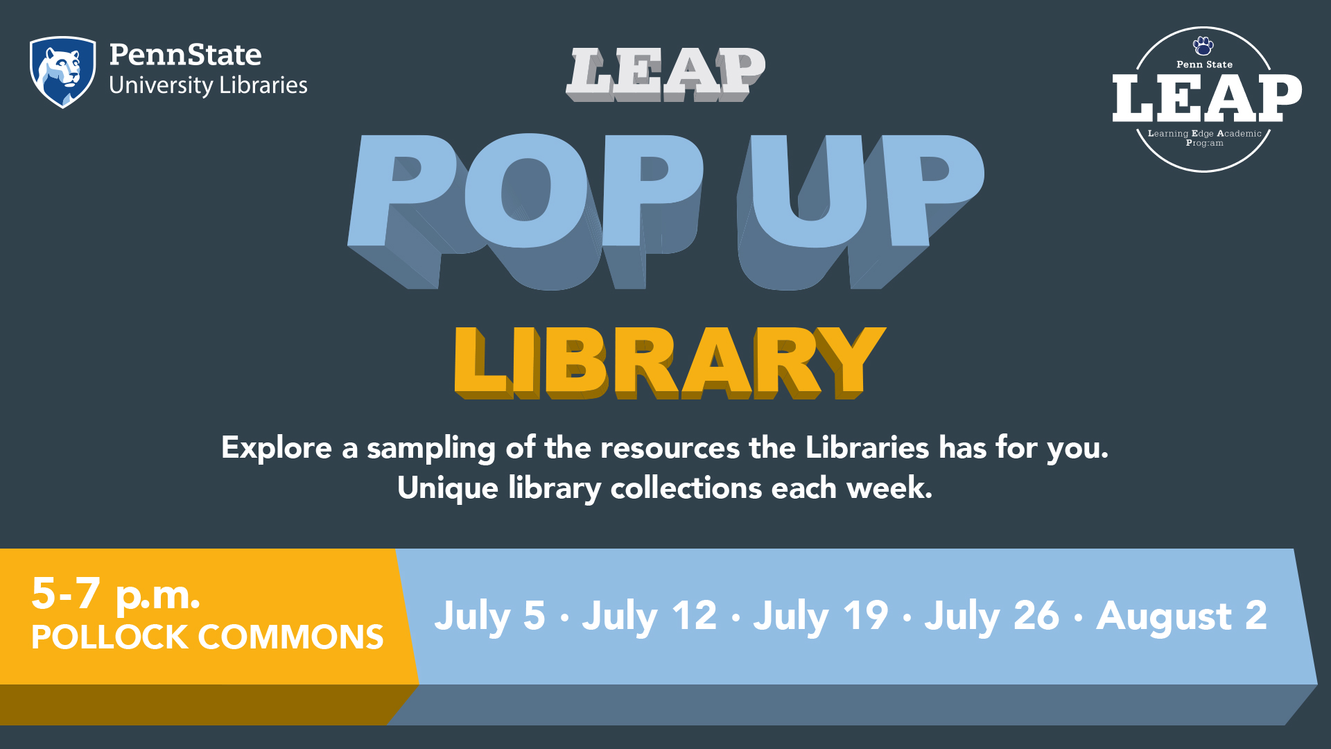 Digital sign advertising the Libraries Pop Up Libraries for the LEAP program