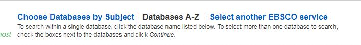 Databases A - Z list