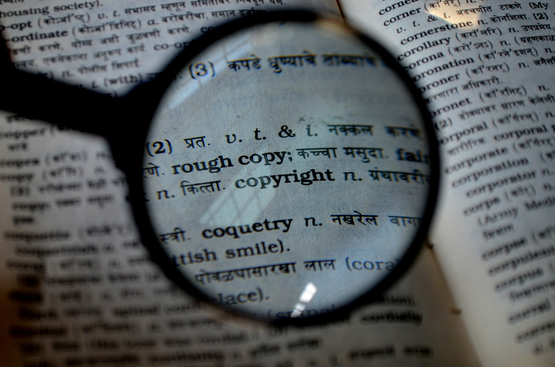 Magnifying glass and copyright