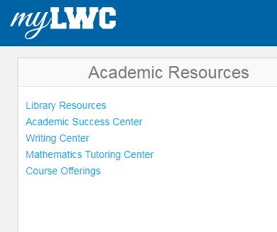 myLWC -Academic Resources -Library Resources