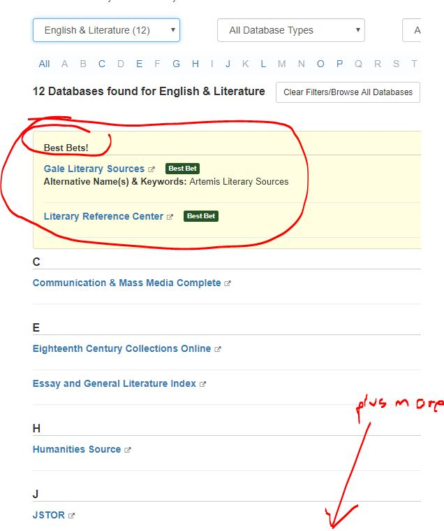 English lit databases