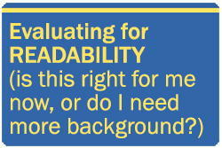 Evaluating for readability