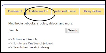 homepage database tab circled