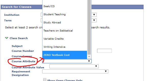 dropdown showing zero textbook cost as selected choice