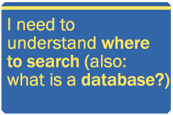 I need to understand where to search. Also, what is a database?