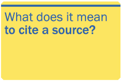 What does it mean to cite a source?