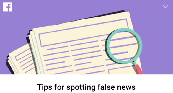 Newspaper and magnifying glass with Facebook logo and the phrase Tips for spotting false news