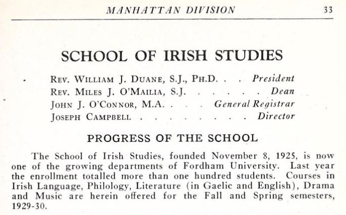 Snippet of the 1928-1929 course catalog for the School of Irish Studies with Joseph Campbell as Director