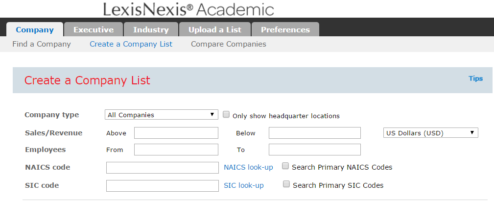 Generate a Company List with LexisNexis