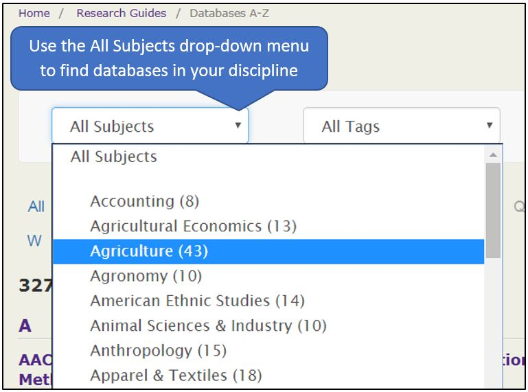 All Subjects drop-down menu