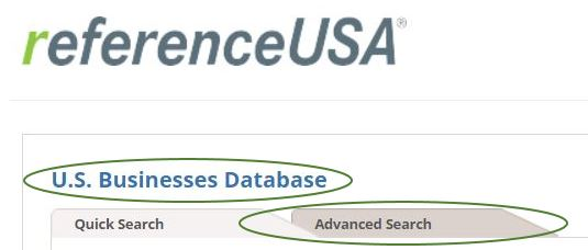 To start select the US Businesses Database and chose Advanced Search