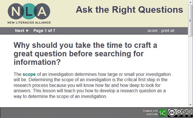 screenshot of New Literacies Alliance's Ask the Right Questions lesson