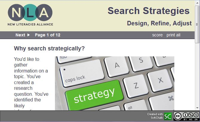 screenshot of New Literacies Alliance's Search Strategies lesson