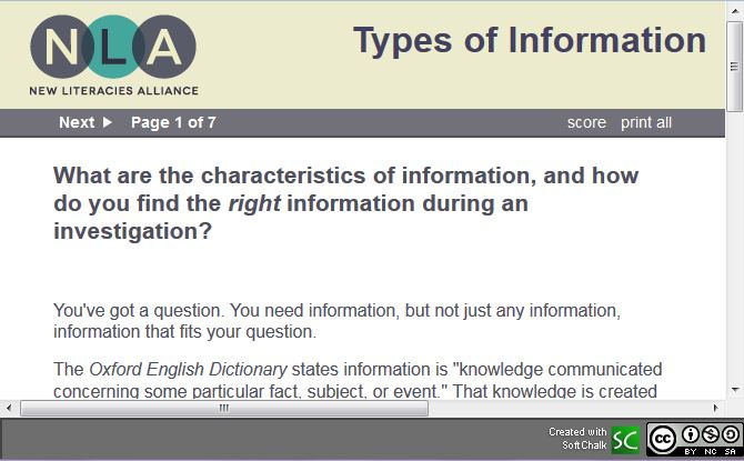 screenshot of New Literacies Alliance's Types of Information lesson