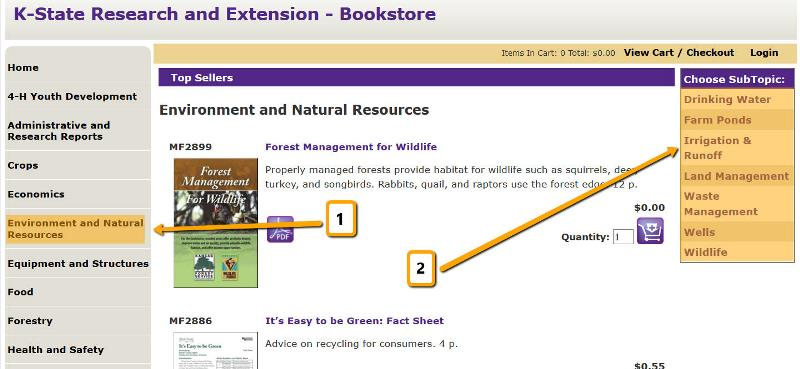 Screenshot of KSRE Bookstore steps to get relevant material (1) Environment and Natural Resources and (2) Choose Subtopic