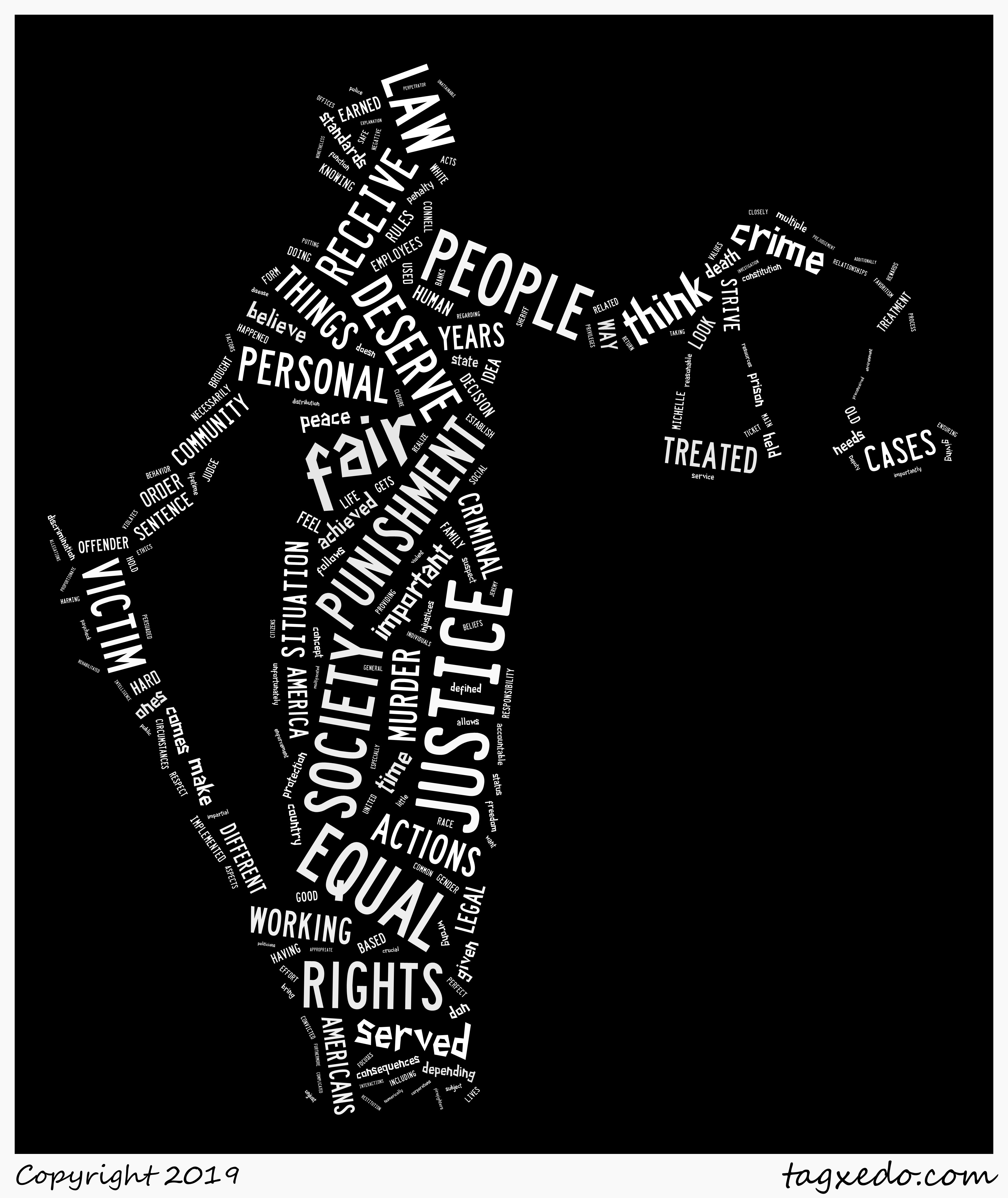 Lady Justice with words from students' justice definition essays