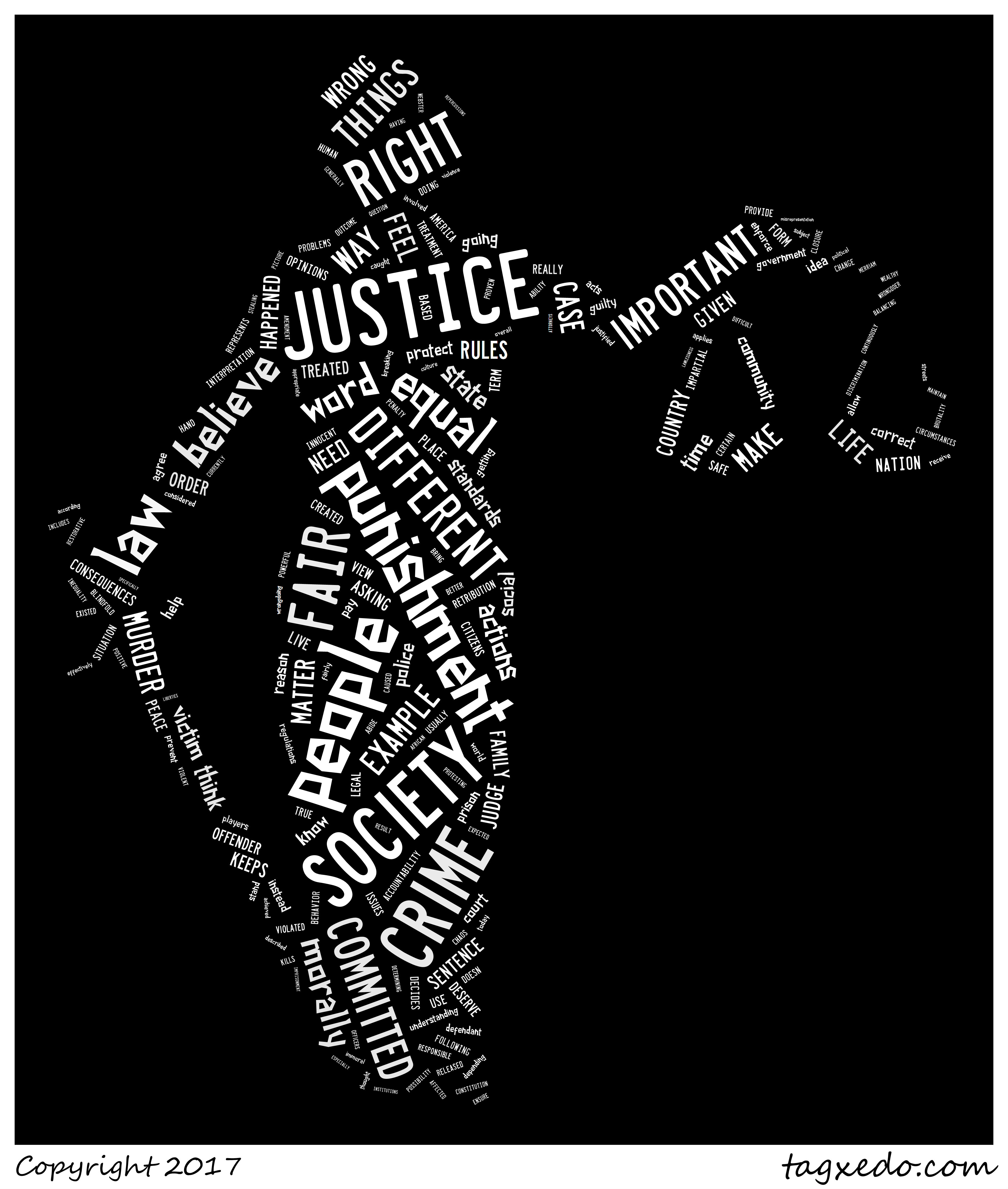 Lady Justice word cloud using student definitions of what justice means to them