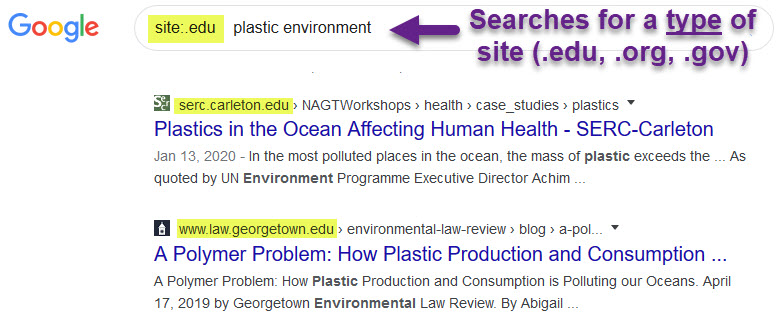 site:.edu plastic environment searches for a type of site