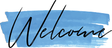 The word Welcome in hand-drawn signature typeface highlighted in blue