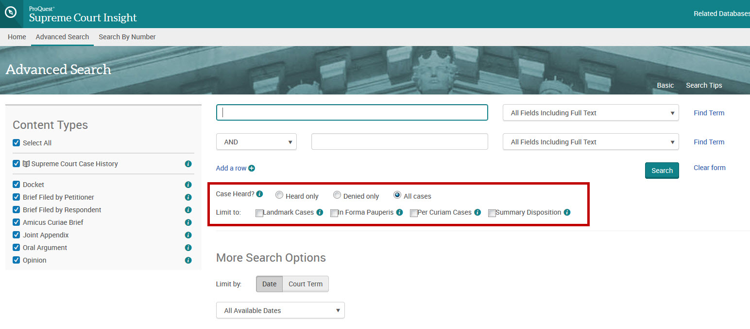 Advanced search form showing options for cases heard or not heard