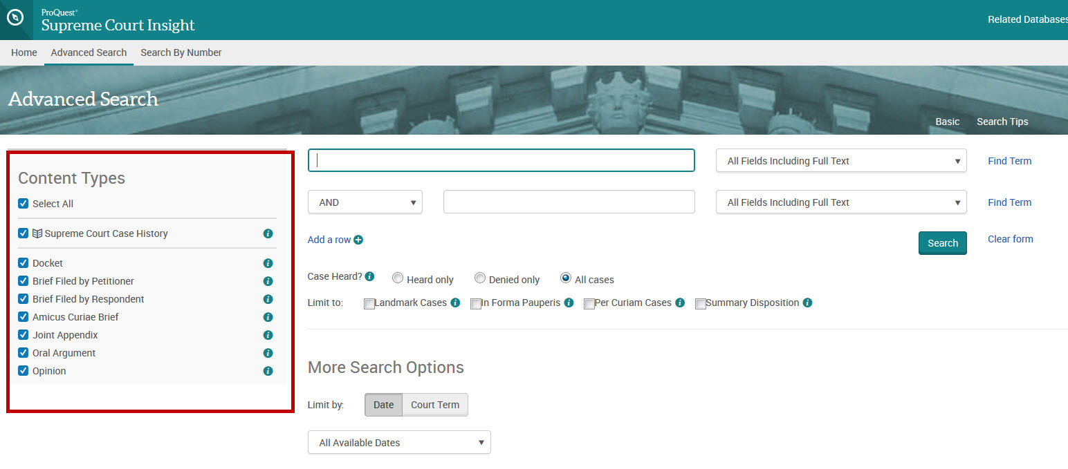 Advanced search form showing document types