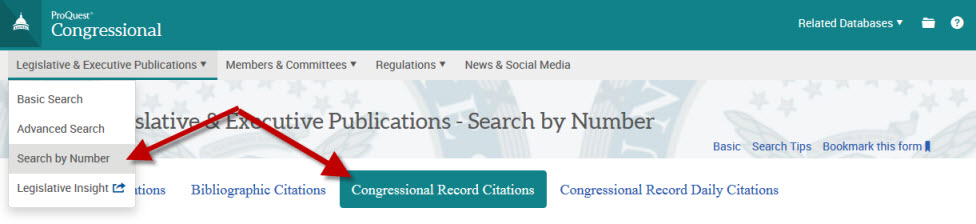 Select Search by Number, then Congressional Record Citations
