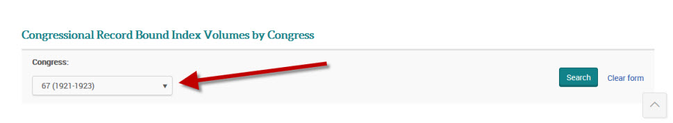 scroll down to Select Congressional Record Bound Index Volumes by Congress