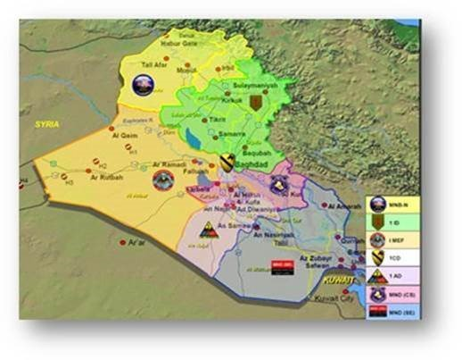Map of coalition bases in Iraq, 2004. (U.S. Central Command)