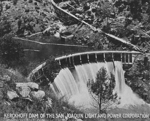Kerckhoff Dam, undated.  Woodward collection.
