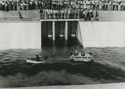 Celebration on dam for Central Valley Project, 1951.  Eugene Allen Rose collection.