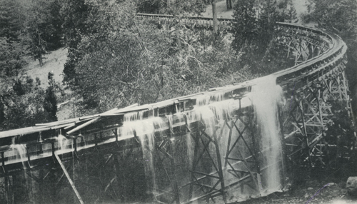 Log jam on flume, undated.  Eugene Allen Rose collection.