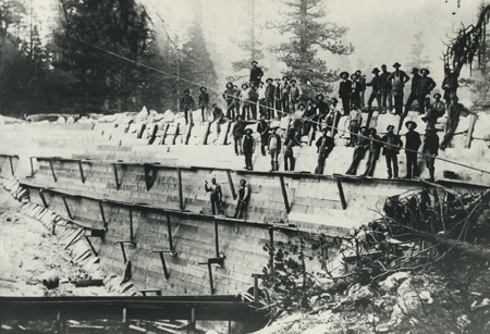 Workmen on Shaver Lake Dam during construction, 1893.  Eugene Allen Rose Collection.