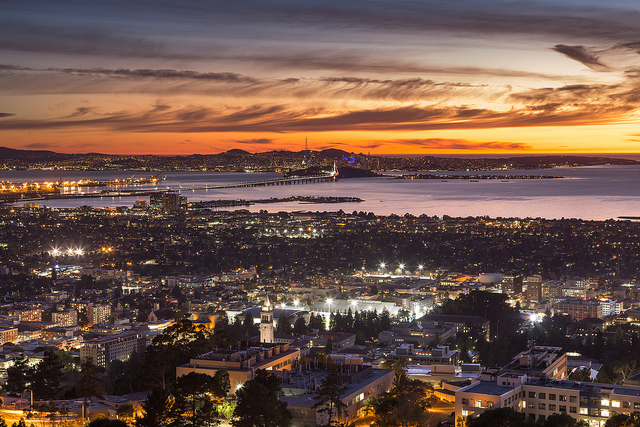 Photograph of sunset over San Francisco Bay.