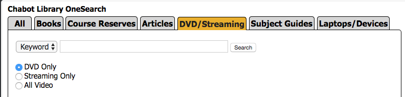 Screen shot of DVD and Video Search at Chabot Library Home Page