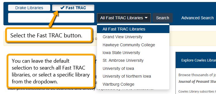 Selecting Fast TRAC libraries