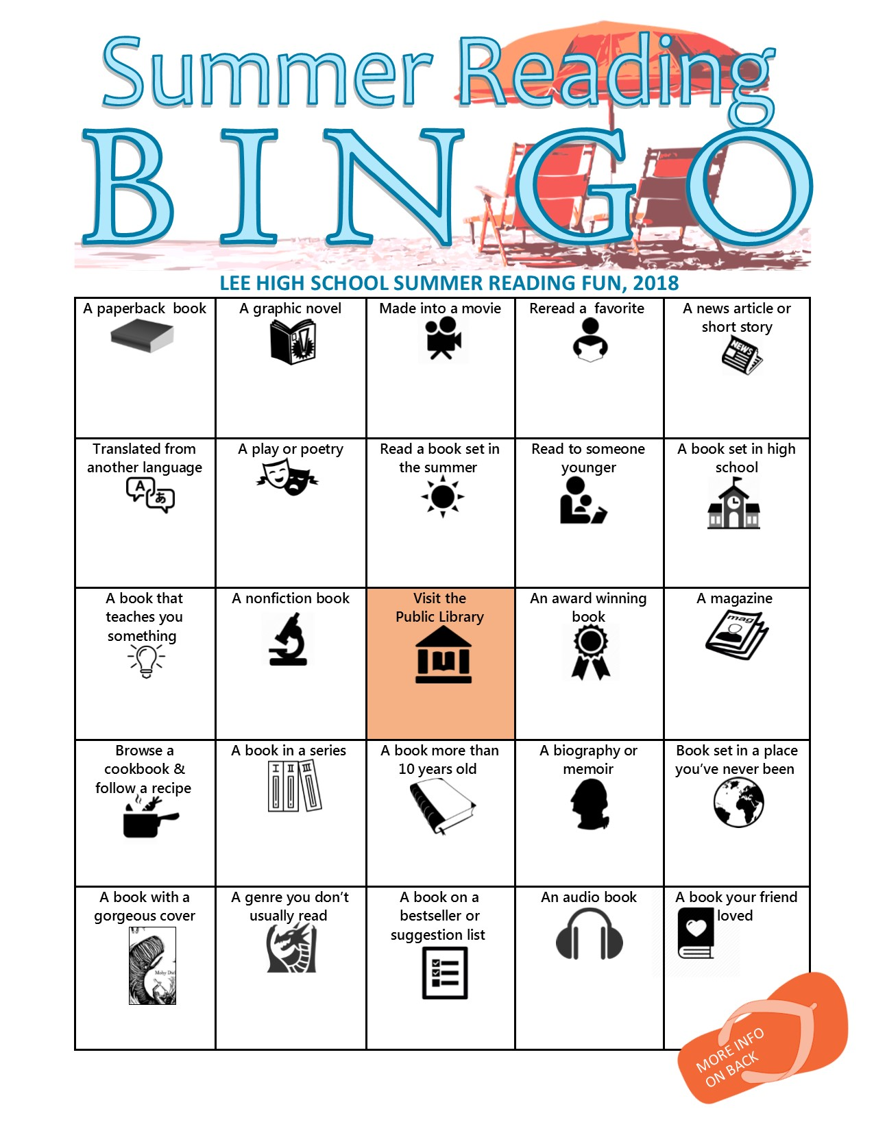 summer reading bingo board