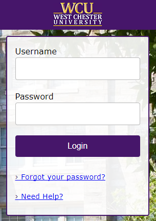 WCU log in page with username and password fields