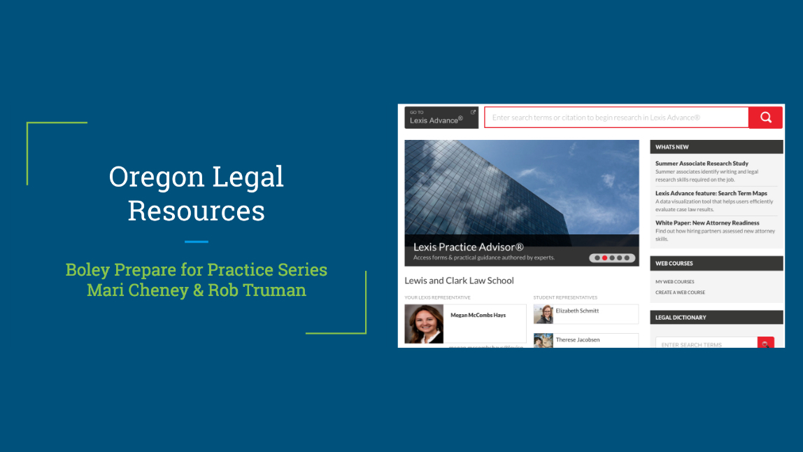 Cover image and link –– Video webcast of Oregon Legal Resources and LexisNexis for Externs and Associates Program