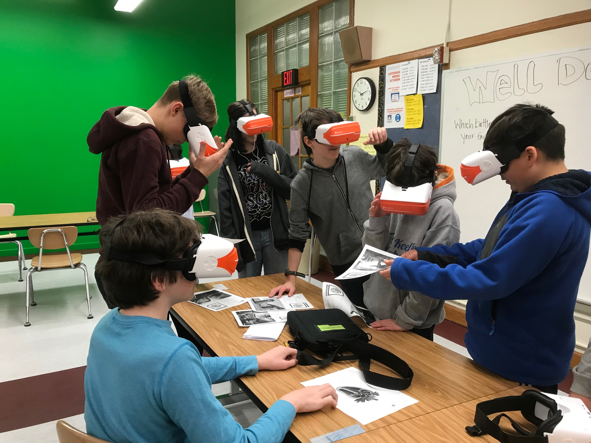 Students wearing virtual reality goggles