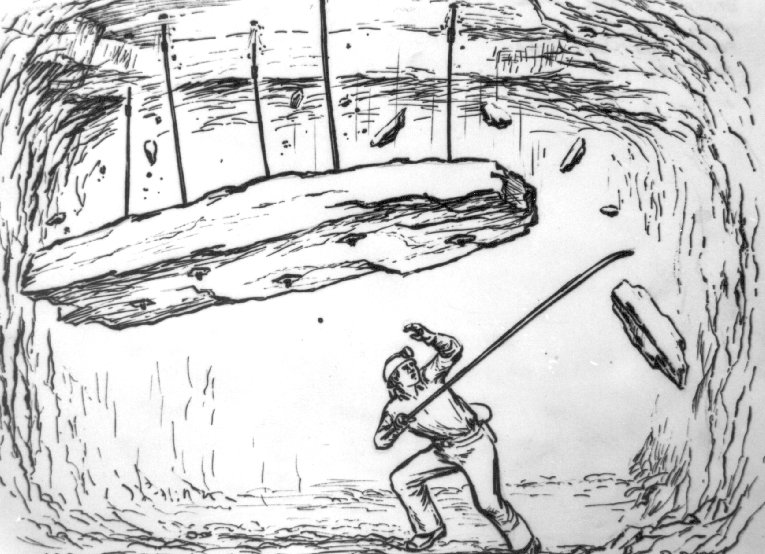 Illustration of miner being caught by a slab fall