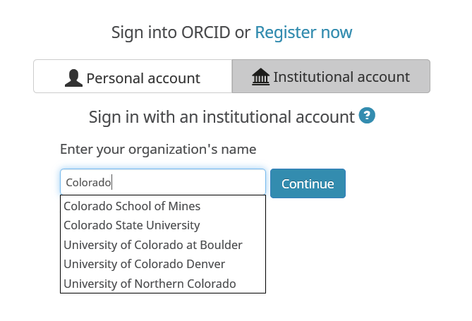 Choose Colorado School of MInes from the drop-down list under Institutional Account tab