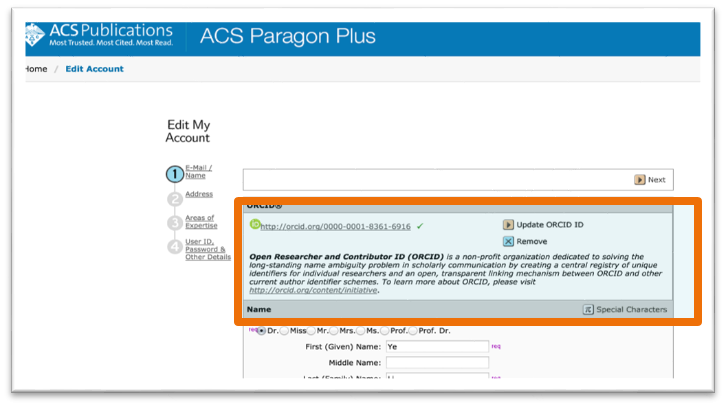 ORCID integration in ACS manuscript submission system