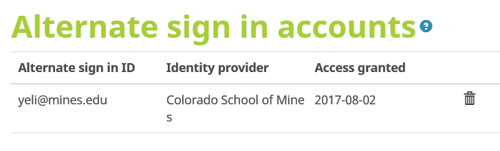 remove alternate sign in option under Account Settings or ORCID