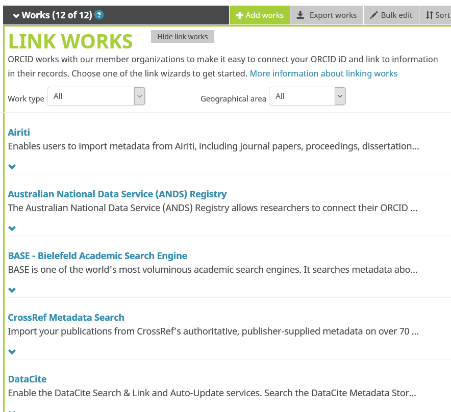 ORCID profile add work via Search and Link
