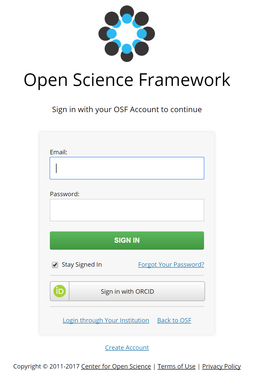 OSF sign in page with ORCID signing in option