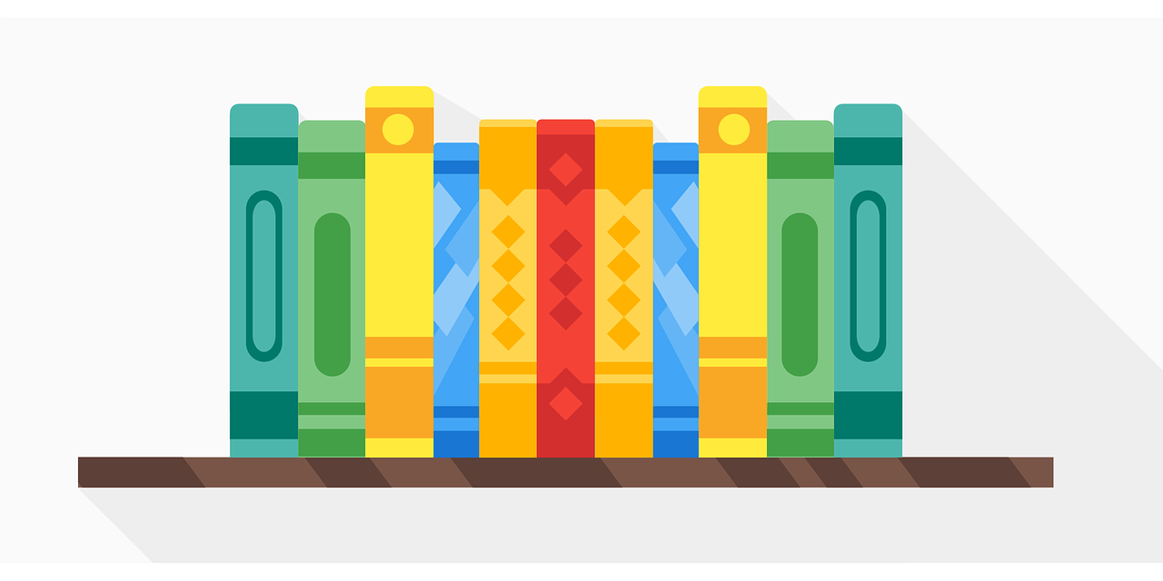 Decorative Image: Books on a shelf.